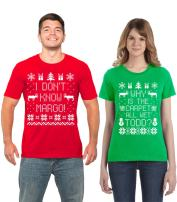 SignatureTshirts Todd and Margo Matching Couples Ugly Sweater Why is The Carpet All Wet T-Shirts