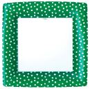 Entertaining with Caspari Small Dots Square Dinner Plates, Green, Pack of 8