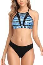 CharmLeaks Women Halter Bikini Swimsuit High Neck Bathing Suits Two Piece Swimwear