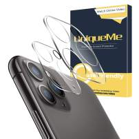 [ 2 Pack ] UniqueMe for iPhone 11 Pro/iPhone 11 Pro Max Camera Lens Protector Tempered Glass, HD Clear [New Version] Add Cameras Flash Circle