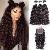 Brazilian Water Wave Bundles with Closure (18 20 22 + 16) Human Virgin Hair 3 Curly Wave Bundles with 4x4 Swiss Lace Closure Free Part Natural Black