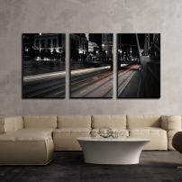"""wall26 - 3 Piece Canvas Wall Art - Urban Roads at Night,Black and Withe - Modern Home Decor Stretched and Framed Ready to Hang - 16""""x24""""x3 Panels"""