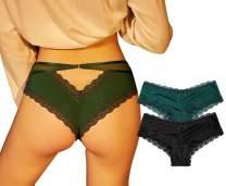 Camelia Women's String Bikini Lace Trim Panties Cotton Breathable Briefs