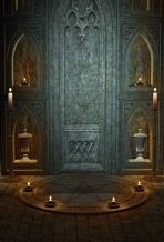 AOFOTO 4x6ft Photography Backdrop Artistic Background Ancient Gothic Architecture Interior Decoration Vintage Candles Scary Halloween Kid Girl Boy Portrait Photo Studio Props Vinyl Wallpaper