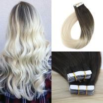 Moresoo 14 Inch Tape in Hair Extensions Balayage Color Darkest Brown #2 Fading to Blonde #60 Straight Remy Hair Extensions Tape in Skin Weft Human Hair Glue in Hair 40pcs/100g