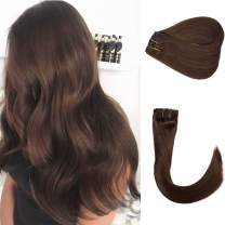 """Clip in Real Hair Extensions #4 Medium Brown 100G 8pcs Double Weft Remy Hair Clip in Extensions 100% Human Hair Silky Straight Full Head 14"""" for Women Girls"""