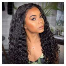 YULING Water Wave Lace Front Wigs Human Hair Deep Curly Wigs for Black Women Glueless Brazilian Wet and Wavy Lace Frontal Wig with Baby Hair Pre Plucked Real Hair Natural Black Color (14inch)