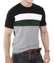 CHAKTON Mens Summer Fashion Slim Fit Color Block Short Sleeve Shirts Casual Tshirt