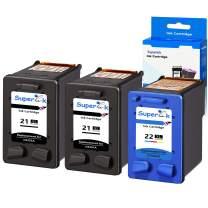 SuperInk 3PK (2 Black+1 Color) Remanufactured Ink Combo Compatible for HP 21XL 22XL Ink Cartridge DeskJet D2400 D2430 D2445 D2460 Printer,475/415 Pages Yield