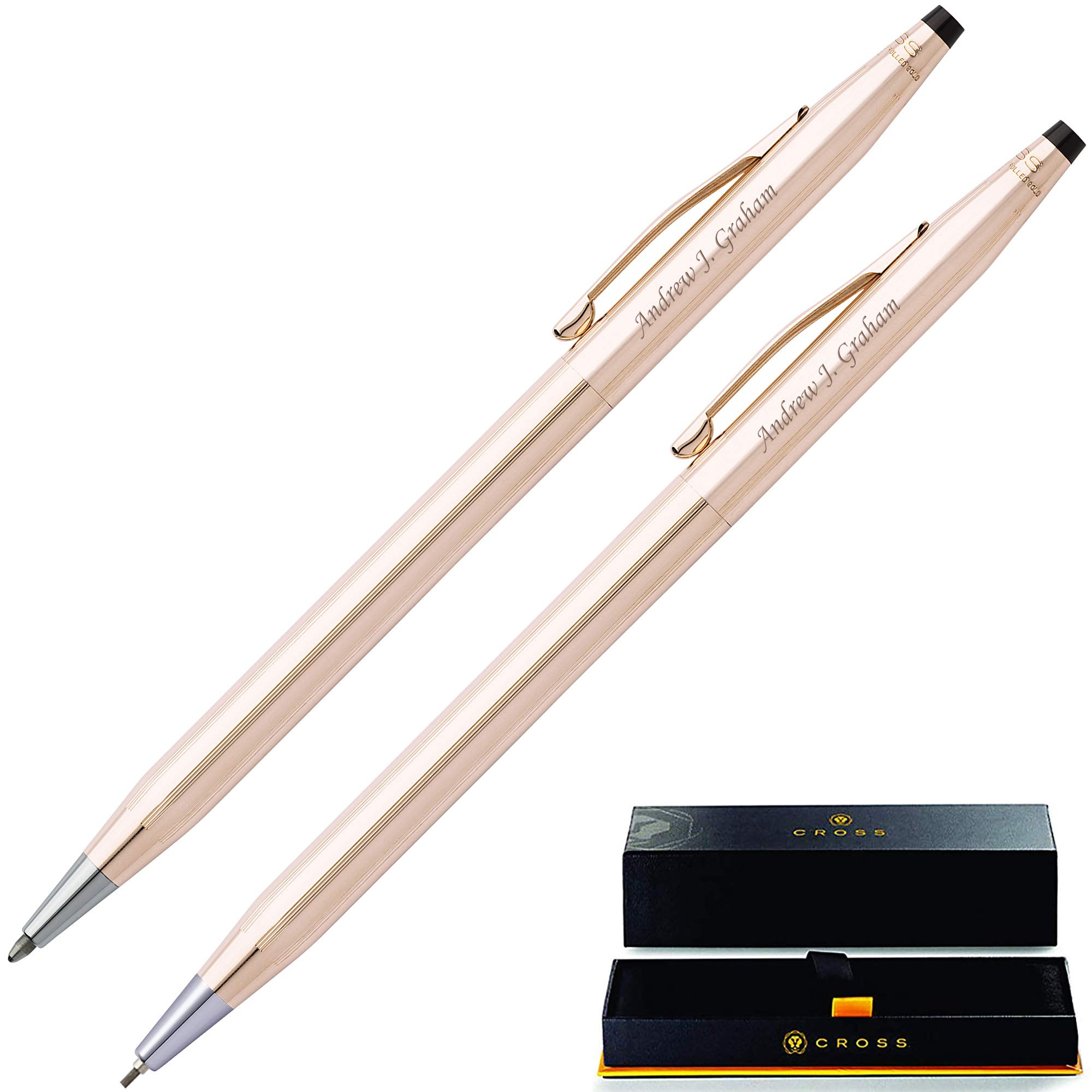 Gold Cross Pen Set | Engraved/Personalized Cross Classic 14 Karat Gold Plated Pen and Pencil Gift Set. Custom engraved in 1 business day