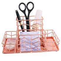 Simmer Stone Desk Organizer, 4 Compartments - Pen Holder, Sticky Note Holder and 2 Accessory Storage Slots, Wire Desk Caddy for Desk Supplies and Accessories, Rose Gold