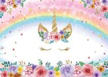 SJOLOON 7x5ft Rainbow Unicorn Backdrop Girl Birthday Party Decoration Glitter Bubble Pastel Rainbow Pink Flower Background for Baby Shower Studio Props 11559