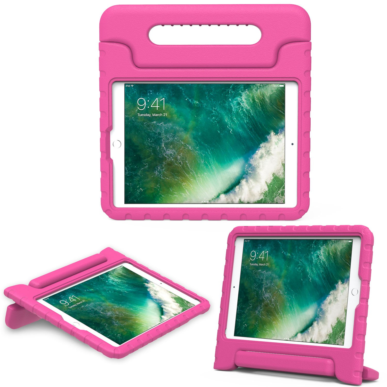MoKo Case Fit 2018/2017 iPad 9.7 6th/5th Generation/iPad Air/iPad Air 2 - Kids Friendly Shock Proof Convertible Handle Light Weight Protective Stand Cover, Magenta