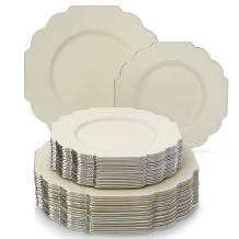 ELEGANT PLASTIC DINNERWARE 240 PC SET   120 Dinner Plates and 120 Salad or Dessert Plates   Heavy Duty Plastic Plates   Fine China Look   for Upscale Wedding and Dining (Baroque – Ivory)
