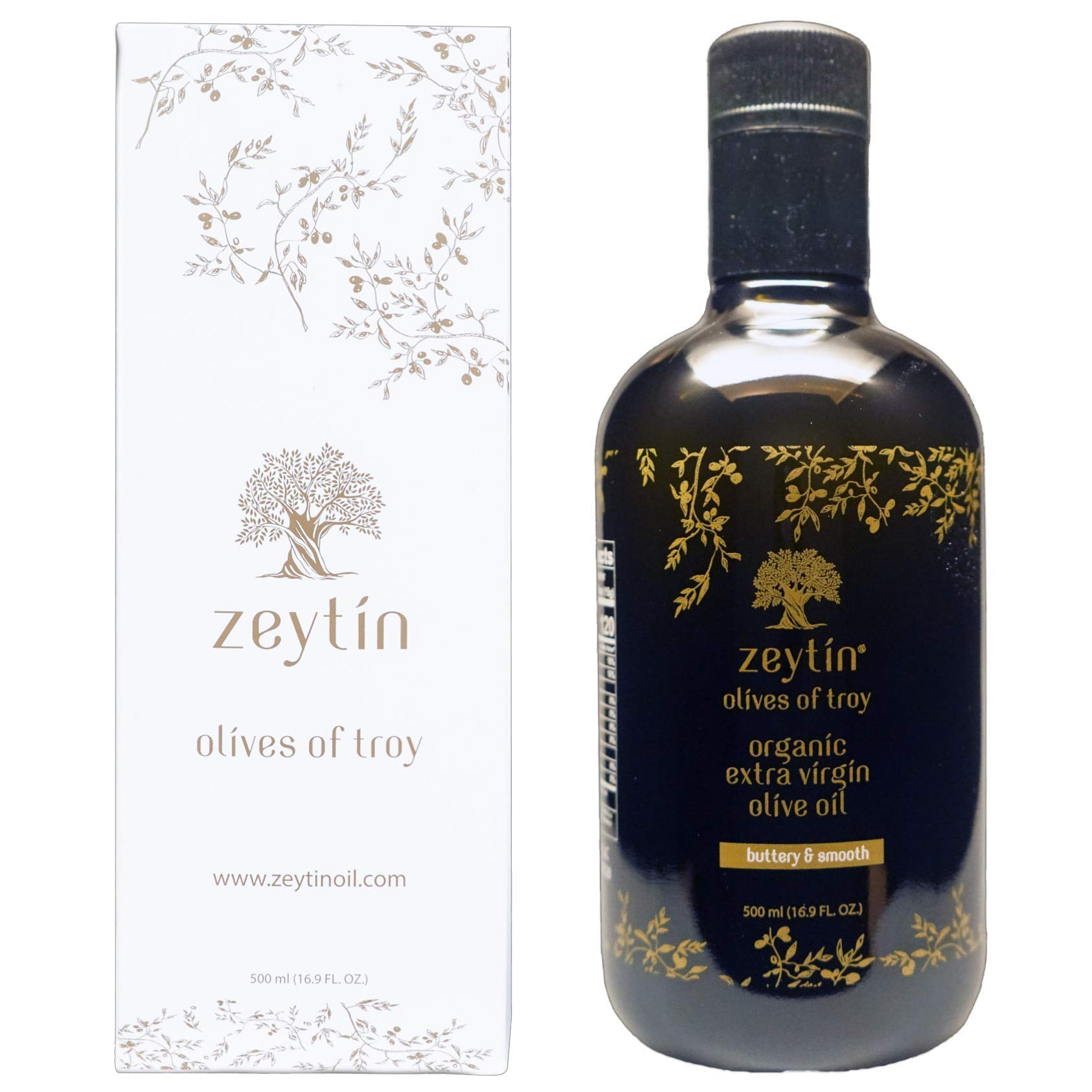 Zeytin Premium Extra Virgin Olive Oil - 2019 October Early-Harvest I Award Winning I PDO I Certified Organic I Cold Pressed I Single-Source I VEGAN & KETO (Buttery & Smooth, 500 ml (16.9 oz)