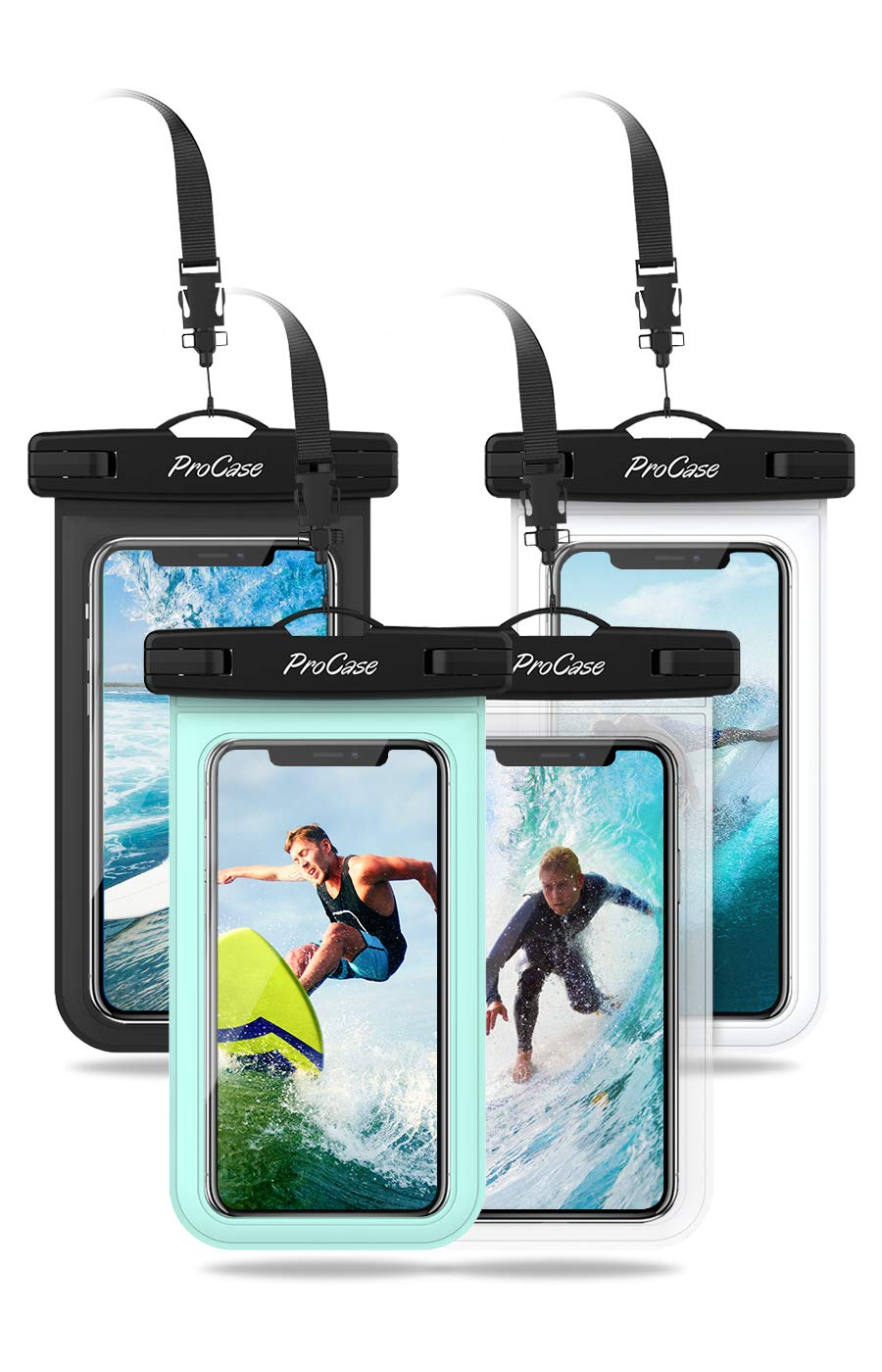 """Procase Universal Cellphone Waterproof Pouch Dry Bag Underwater Case for iPhone 11 Pro Max Xs Max XR X 8 7 6S+ SE 2020, Galaxy S20 Ultra S10 S9 S8/Note10+ 9 up to 6.9""""-4 Pack, Black White Green Clear"""