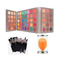 Pro 65 Colors Eyeshadow Palettes + 20pcs Makeup Brushes Set + Sponge Blender with Bottle Sweatproof Pigmented Matte Shimmer Metallic Blendable Soft Pressed Powder Eye Shadow Makeup Palette