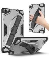 ROISKIN AMZ F i-r e 7 Tablet 2019 Case (9th Generation, 2019 Release) [Kickstand/Hand Strap] Full-Body Shockproof Rugged Impact Resistant Flexible Soft TPU Protective Case - Silver