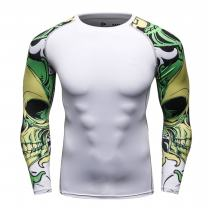 Red Plume Mens Cycling Skin Long Sleeve MMA Under Compression Base Layer Shirt / 12