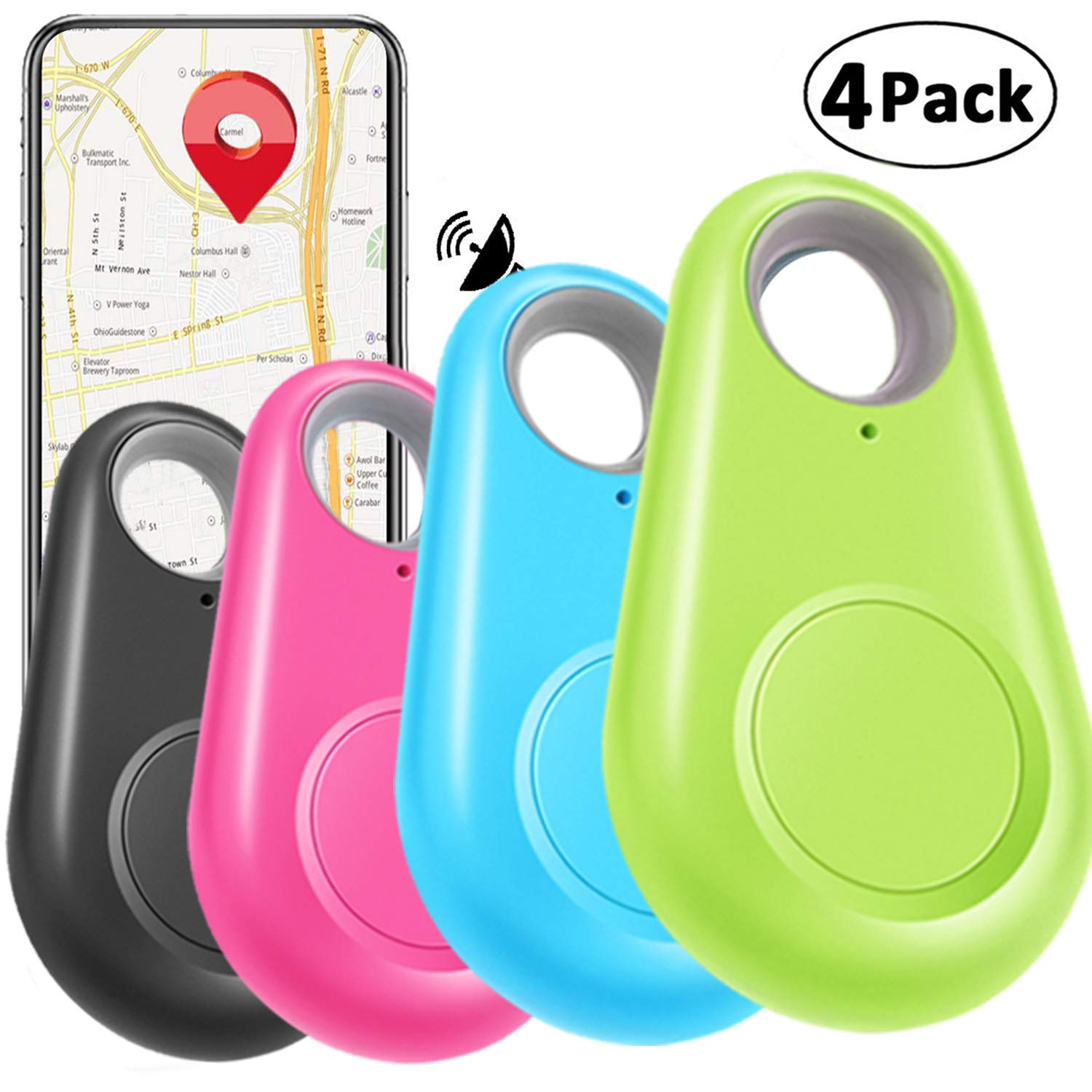 4 Pack Smart GPS Tracker Key Finder Locator Wireless Anti Lost Alarm Sensor Device for Kids Dogs Car Wallet Pets Cats Motorcycles Luggage Smart Phone Selfie Shutter APP Control Compatible iOS Android