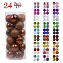 """GameXcel Christmas Balls Ornaments for Xmas Tree - Shatterproof Christmas Tree Decorations Perfect Hanging Ball Bronze 1.6"""" x 24 Pack"""