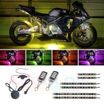 LEDGlow 6pc Advanced Million Color LED Motorcycle Accent Underlow Light Kit - 15 Solid Colors - 6 Patterns - Multi-Color Flexible Strips - Includes Waterproof Control Box & 2 Wireless Remotes