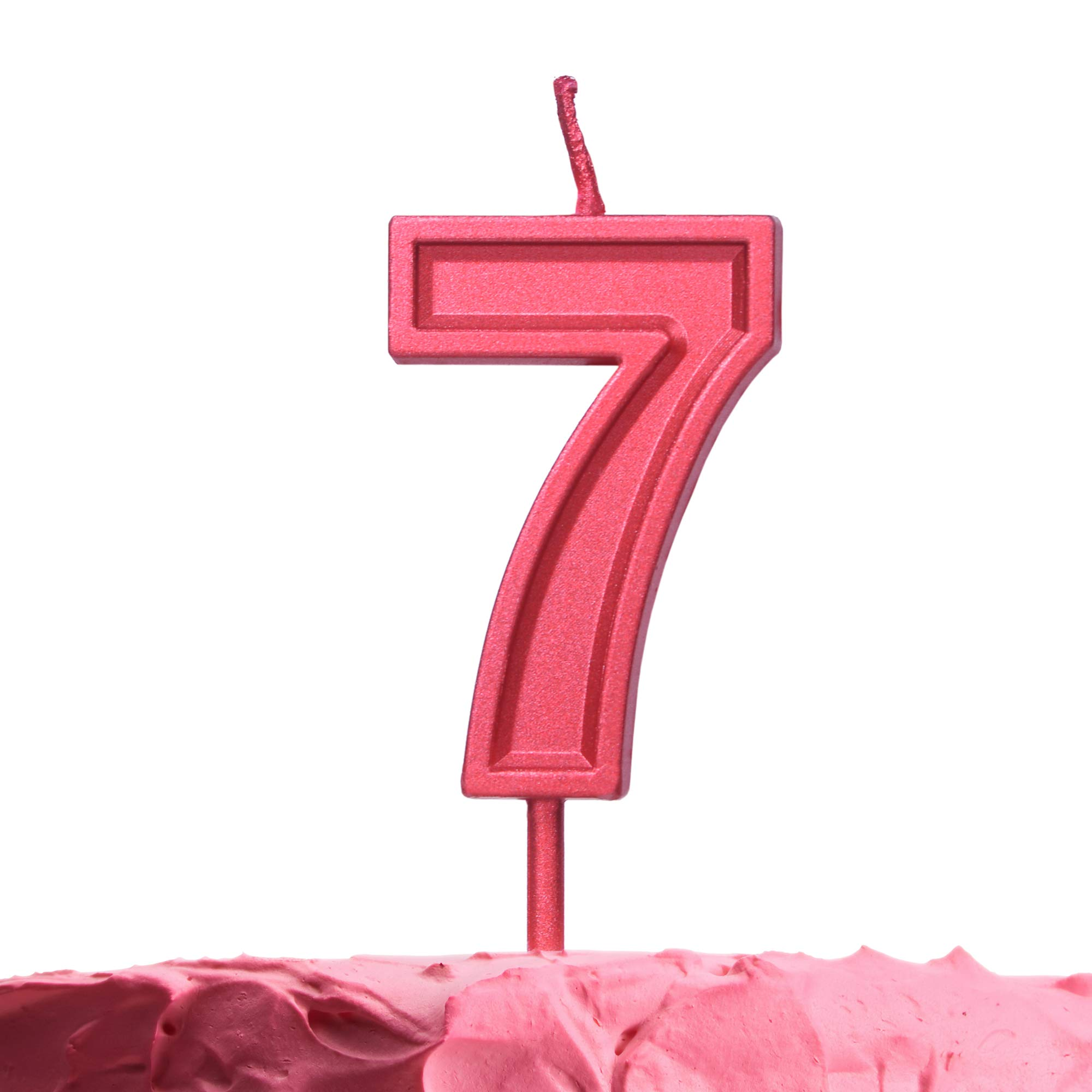 Get Fresh Number 7 Birthday Candle – Red Number Seven Candle on Stick – Elegant Red Number Candles for Birthday Anniversary Wedding – Perfect Baby's 7th Birthday Candle Cake Topper – Red 7 Candle