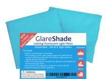 GlareShade Fluorescent Light Filter Diffuser Covers (2 Pack; Blue Color). Eliminate Harsh Glare That Causes Eyestrain and Headaches at Work and School While Improving Focus and Classroom Management