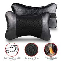 YIHO Car Neck Support Pillow Leather Head-Rest Cushion to Relief Cervical Shoulder Pain Issues for Universal Driver & Passenger Seat in Travel or Office Chair (Black-2 Pack)