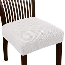 Turquoize Seat Covers for Dining Room Chairs Dining Chair Seat Cover Jacquard Dining Chair Covers Set of 2 Kitchen Chair Covers Removable Chair Seat Cushion Slipcovers for Dining Room (2 Pack, Ivory)