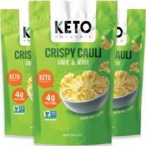 Keto Chips Low Carb Cauliflower Bites - 5g net carbs Cauliflower Chips Healthy Snacks for Kids and Adults (Garlic & Herbs) Low Sugar Gluten free Vegan Paleo Atkins Food No Sugar Added Snack (3 Packs)