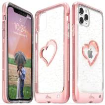 Vena iPhone 11 Pro Max Glitter Case, vLove Glitter Heart Case Slim Dual Layer Protection, Designed for iPhone 11 Pro Max (6.5 inches) - Rose Gold (PC) and Clear TPU with Glitter