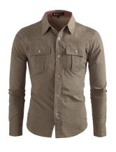 uxcell Men Color Block Point Collar Chest Pockets Button Down Shirt
