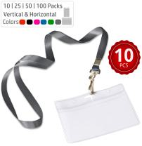Durably Woven Lanyards & Horizontal ID Badge Holders ~ Premium Quality, Waterproof & Dustproof ~ for Moms, Teachers, Tours, Events, Businesses, Cruises & More (10 Pack, Gray) by Stationery King