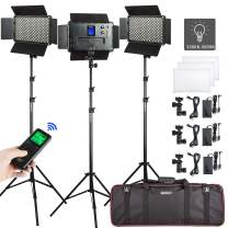 3-Pack 3300-5600K CRI 95+ LED Video Light and Stand Kit Includes: (3) Bi-Color Dimmable Light with Barndoor (3) Light Stand; (3) DC Adapter, (3) Remote Control for Studio Photography