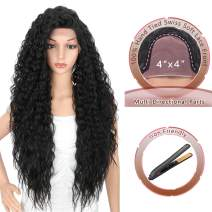 """Kalyss 28 Inches 4x4"""" Multi Directional Parts Synthetic Lace Front Wigs with Baby Hairs for Black Women Heat Resistant Curly Wavy 150% Density Lace Frontal Wigs"""