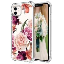 "Hepix Floral iPhone 11 Case Purple Pink Roses Flowers iPhone 11 Clear Cases, Slim Protective TPU Frame with Reinforced Bumpers Camera and Screen Protection for iPhone 11 (6.1"") 2019"