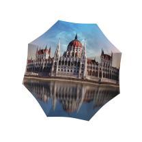 Travel Umbrella Compact Windproof Auto Open Close - Brand Umbrella for Women - Portable Rain Umbrella Lightweight - European Umbrella Hungary Budapest Design - Folding Colorful Umbrella with Sleeve