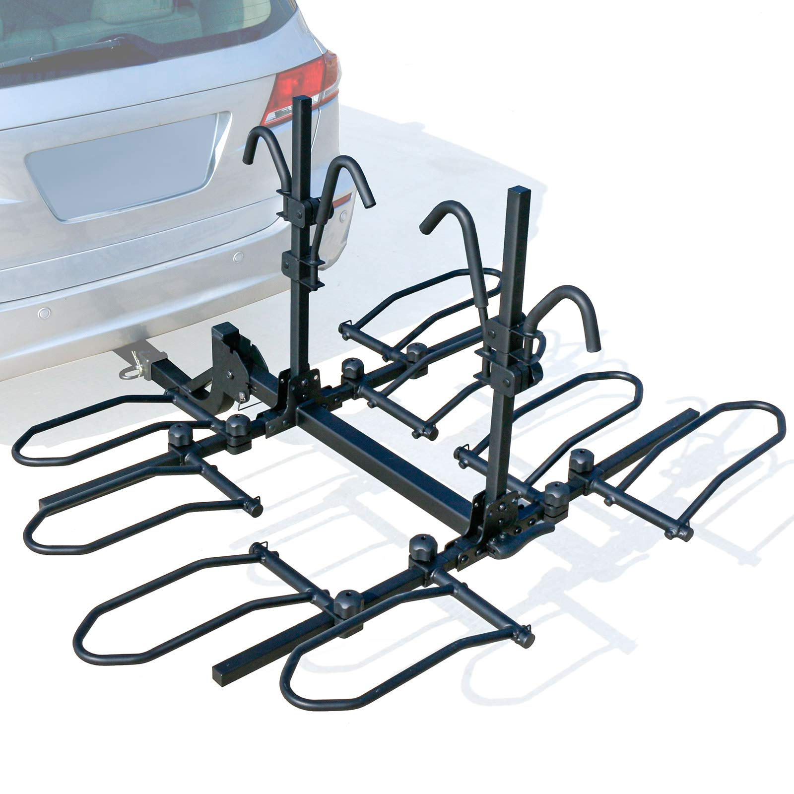 "Leader Accessories 4-Bike Platform Style Hitch Mount Bike Rack, Tray Style Bicycle Carrier Racks Foldable Rack for Cars, Trucks, SUV and Minivans with 2"" Hitch Receiver"