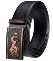 DiBanGu Mens Ratchet Belt,Designer Gold Black Belt Automatic Buckle Genuine Leather Slide Dress Belt for Mens