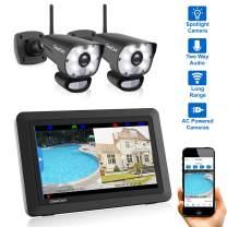 "CasaCam VS1002 Wireless Security Camera System with 7"" Touchscreen and HD Spotlight Cameras, AC Powered (Spotlight 2-cam kit)"