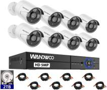 Wired Security Camera System, Wandwoo 8CH 5MP DVR Surveillance Camera System(2TB Hard Drive), 8PCS Full HD Indoor&Outdoor Home Security Camera System