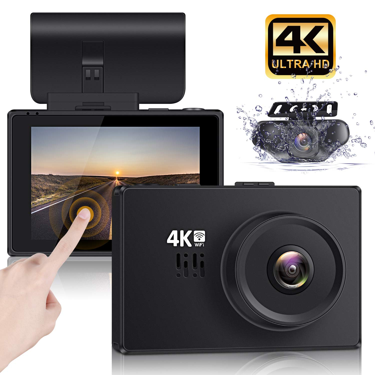 """Lifechaser Dual Dash Cam 4K Front and Rear Car Camera 1080P+1080P, 3"""" OLED Touch Screen WiFi GPS Night Mode 150°, Parking Mode, Time Lapse, WDR, G-Sensor, Loop Recording for Cars, Trucks"""