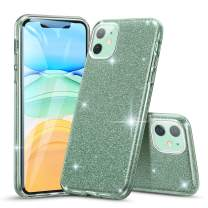 """ESR Glitter Case Compatible for iPhone 11 Case, Glitter Sparkle Bling Case [Three Layer] for Women [Supports Wireless Charging] for iPhone 11 6.1"""" (2019), Dark Green"""