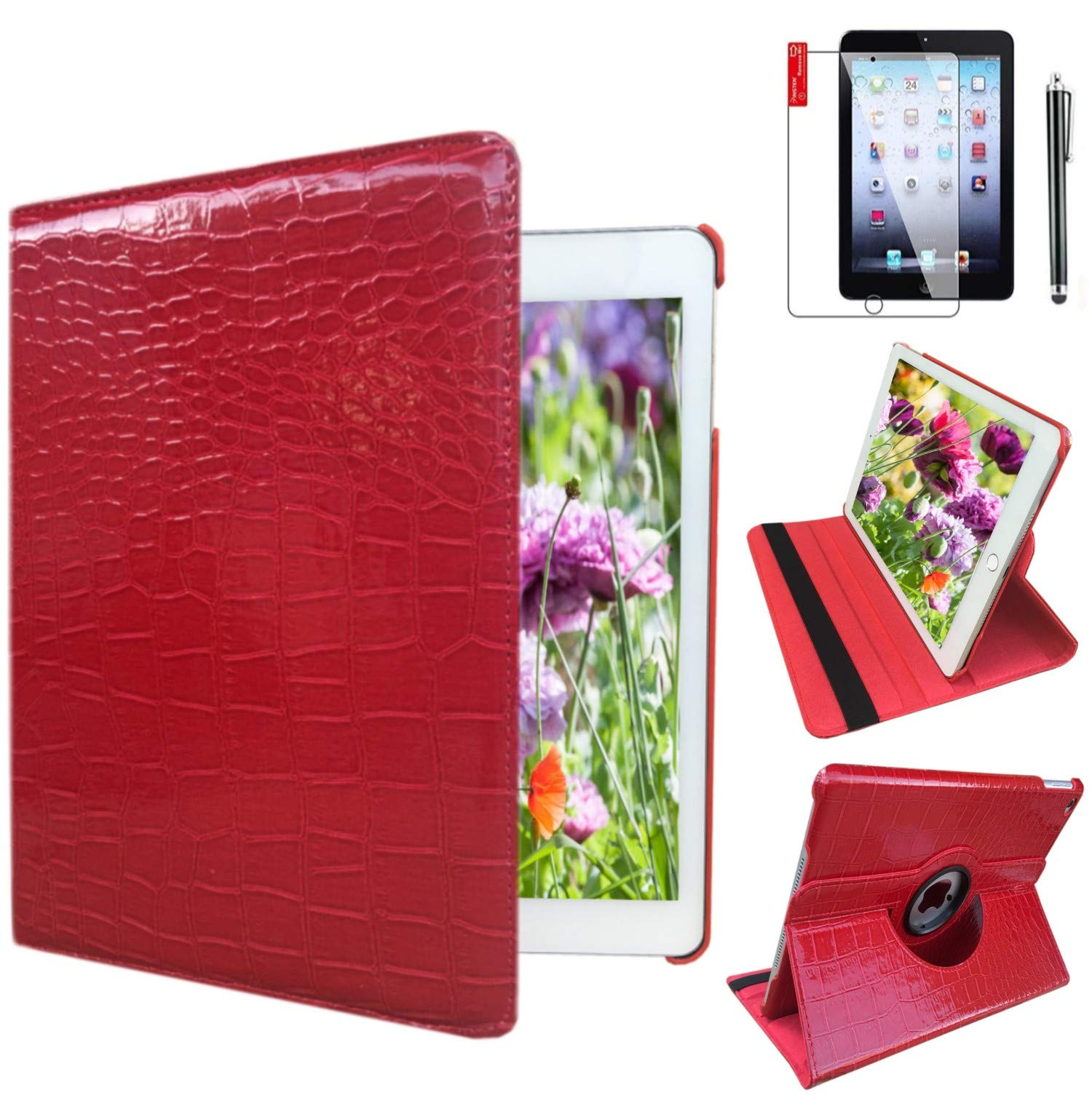 Ipad Case 360 Degrees Rotating Stand Leather Magnetic Smart Cover Case for Ipad 2/3/4 Generation Case with Bonus Screen Protector, Stylus and Cleaning Cloth (Crocodile Pattern)