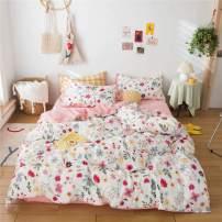 MICBRIDAL Garden Style Botanical Duvet Cover Queen Comfy 100% Cotton Bedding Duvet Cover with 2 Pillowcases Ultra-Soft Floral Love Heart Pattern Print on White Bedding Set for Girls Women
