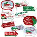 Big Dot of Happiness Funny Merry Little Christmas Tree - Red Truck and Car Christmas Party Photo Booth Props Kit - 10 Piece