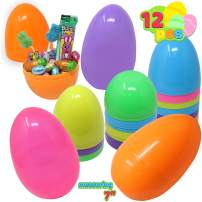 """JOYIN 12 Pieces 7"""" Jumbo Plastic Bright Solid Easter Eggs Assorted Colors for Filling Treats, Easter Theme Party Favor, Easter Eggs Hunt, Basket Stuffers Fillers, Classroom Prize Supplies Toy"""