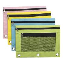 Sooez Binder Pouch,4 Pack Pencil Pouch 3 Ring Fabric Pencil Pouches with 3 Hole, Pencil Case Pencil Bags 3 Ring, Pencil Bags with Zipper Pencil Pouch for 3 Ring Binder