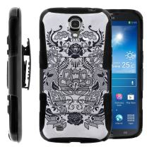 Compatible with Samsung Galaxy Mega Case | Mega 6.3 Case [Hyper Shock] Dual Layer Silicone Hybrid Rugged Belt Clip Impact Stand Case by TurtleArmor - Lotus Flower